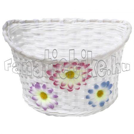Műanyag gyerek kosár 22x15x15cm fehér virágos