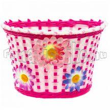 Bike fruit műanyag kosár fehér-rózsaszín virágos