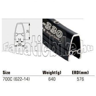 Felni TW 700C 36 ly fekete CNC