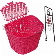 Műanyag első kosár fedeles pink