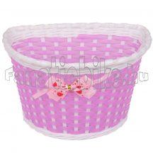 Műanyag kosár gyerek kerékpárra 22x15x15cm masnis pink