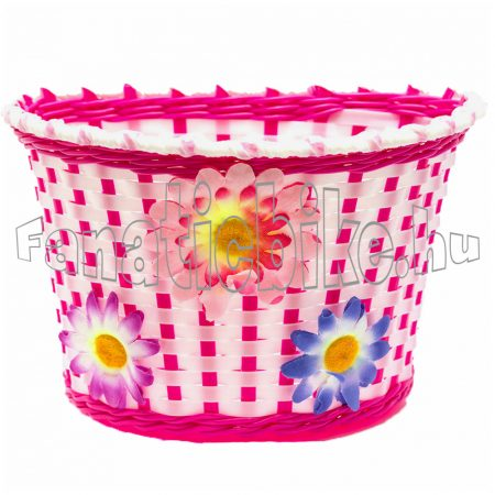 Műanyag gyerek kosár 22x15x15cm fehér-rózsaszín virágos