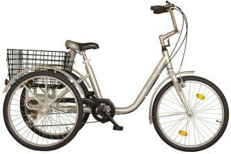 """Koliken Gommer 24"""" háromkerekű 6 sebességes kerékpár ezüst"""