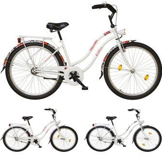Koliken Cruiser női fehér, virágos kerékpár