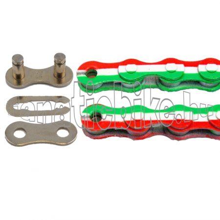 KMC Z-510 1 sebességes 1/2X1/8 110 szem lánc piros-fehér-zöld + patentszem