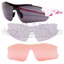 Mighty cserélhető lencsés kerékpáros szemüveg fehér-rózsaszín
