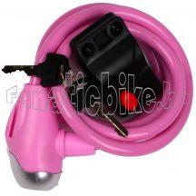 Lakat spirál kábel kulcsos 10x1500mm rózsaszín