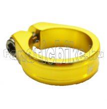 Nyeregcsőbilincs vázra, alu, sárga, 31.8mm