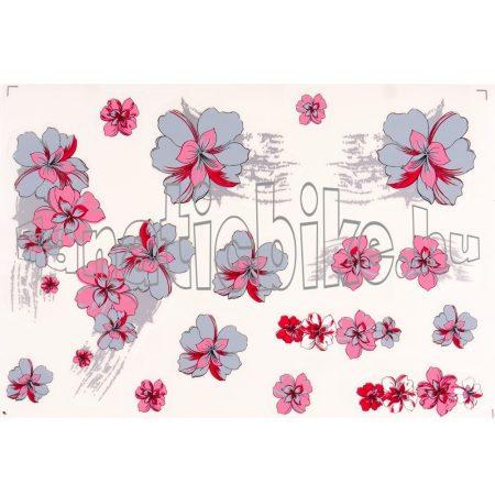 Matrica szett szürke-rózsaszín virágszirmok
